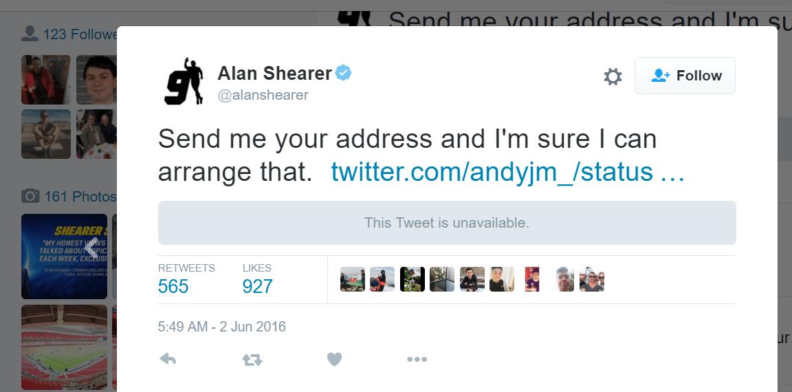 Alan Shearer ebola twitter